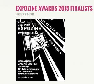 Expozine award finaliste 2015